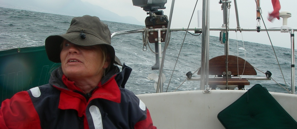 At the helm in a gale loff the Spanish coast